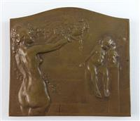 Voorwerpen\24600\24680a.JPG; V24680; Bronzen plakette met Hygieia, ontworpen door J. Lecroart, gemaakt door Paul Fisch, 1913Bronze plaque with Hygieia, designed by J. Lecroart, made by Paul Fisch, 1913; PlakettePlaque